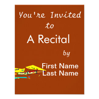 Abstract colourful clarinet graphic image design custom invitations