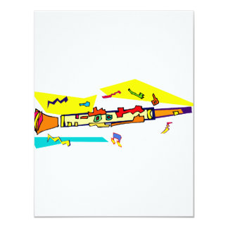 Abstract colourful clarinet graphic image design custom invite