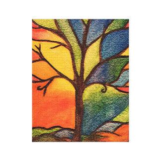 Abstract Colourful Tree Stained Glass Effect Canvas Print