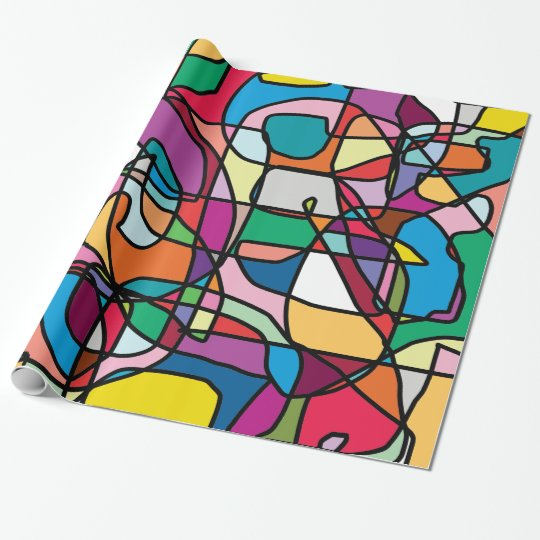 Abstract Colours Doodle Glossy Wrapping Paper