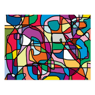 Abstract Colours Doodle Postcard