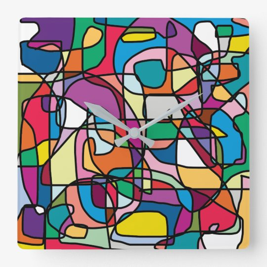 Abstract Colours Doodle Square Wall Clock