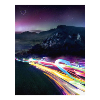 Abstract Colours Northern Lights Road Letterhead