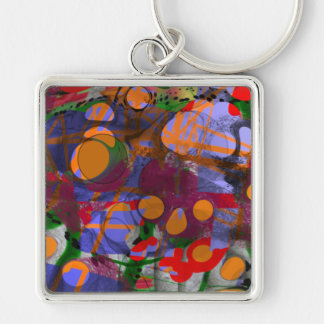 ABSTRACT COLOURS Silver-Colored SQUARE KEYCHAIN