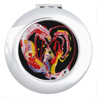 "Abstract Compact Mirror - ""Crazy Heart"""