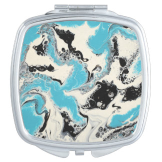 "Abstract Compact Mirror - ""Turquoise Tech"""
