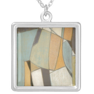 Abstract Composition with Muted Colors Silver Plated Necklace