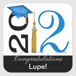 Abstract Congratulations Graduate - 2012 Tassel Square Sticker