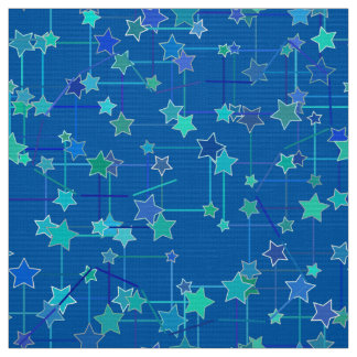 Abstract Constellation of Stars, Cobalt Blue Fabric