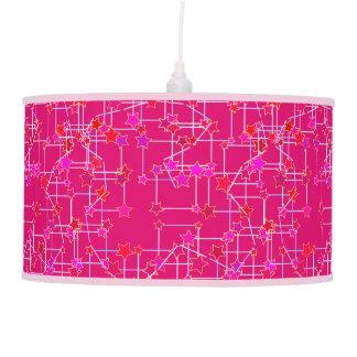 Abstract Constellation of Stars, Deep Fuchsia Pink Pendant Lamp
