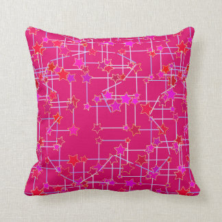 Abstract Constellation of Stars, Deep Fuchsia Pink Throw Pillow