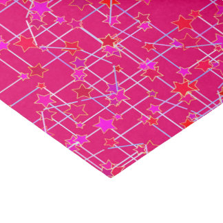 Abstract Constellation of Stars, Deep Fuchsia Pink Tissue Paper