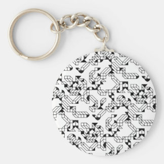 Abstract construction basic round button keychain