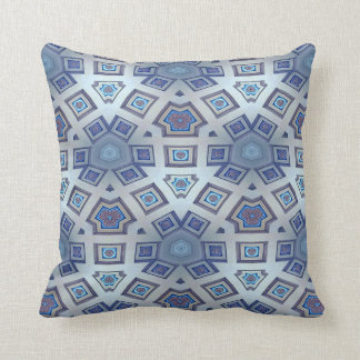 Abstract Contemporary  Blue Gear Like Pattern Throw Pillow