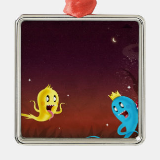 Abstract Cool Ghoulie Ghouls Silver-Colored Square Ornament