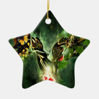 Abstract Cool Ladybird Butterfly Vines Ceramic Star Ornament