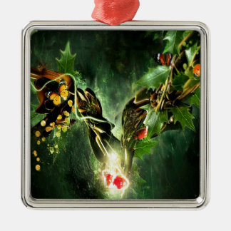 Abstract Cool Ladybird Butterfly Vines Silver-Colored Square Ornament
