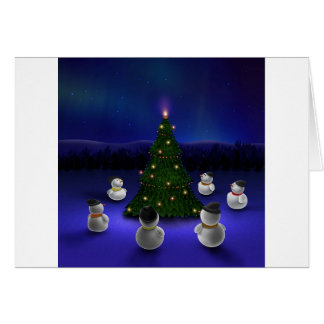 Abstract Cool Snowmen Gathering Card