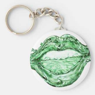 Abstract Cool Water Mouth Basic Round Button Keychain