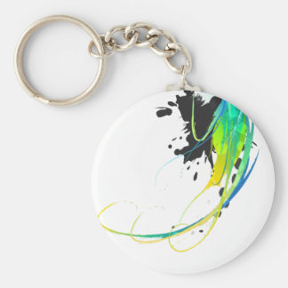 Abstract cool waters Paint Splatters Basic Round Button Keychain