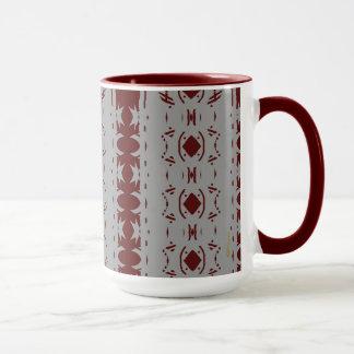 Abstract Cranberry and Grey Pattern Mug