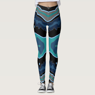 Abstract Crazy Legs Turquoise Leggings