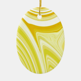 Abstract Creation (Yellow) Ceramic Oval Ornament