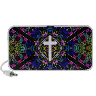 Abstract Cross and Hearts Travelling Speakers