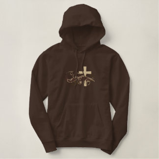 Abstract Cross Embroidered Hoodie