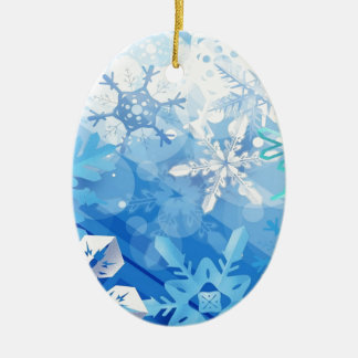 Abstract Crystals Blue Ice Ceramic Ornament