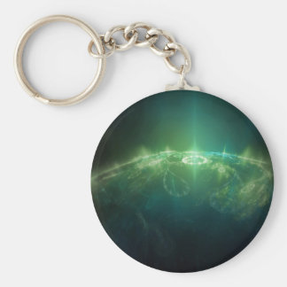 Abstract Crystals Green Globe Basic Round Button Keychain
