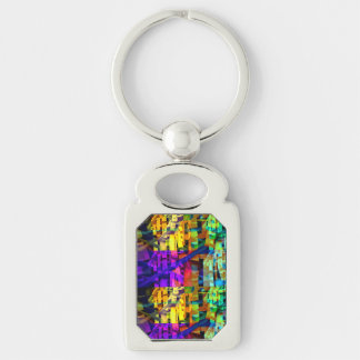 Abstract cubes purple keychain