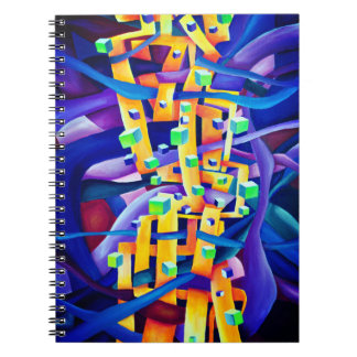 Abstract cubes purple notebook