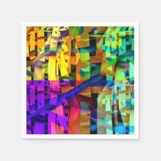 Abstract cubes purple paper napkin