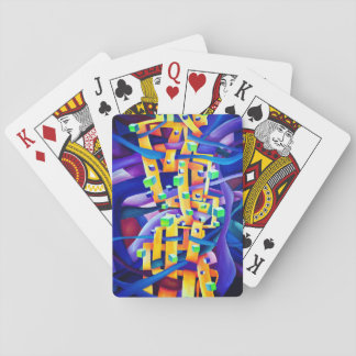 Abstract cubes purple playing cards