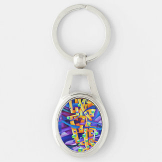 Abstract cubes purple Silver-Colored oval keychain