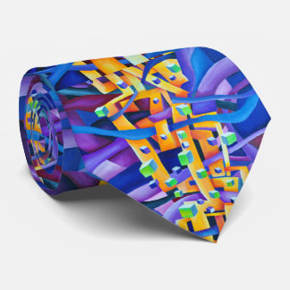 Abstract cubes purple tie