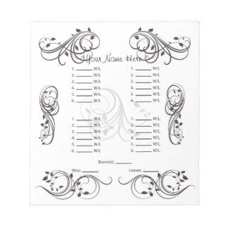 Abstract Cute Bunco Card/Sheet Notepad