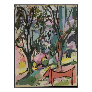 Abstract Dachshund and Trees Poster
