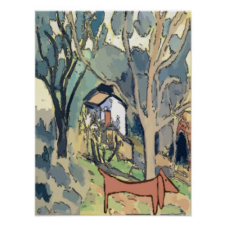 Abstract Dachshund in Woods Poster