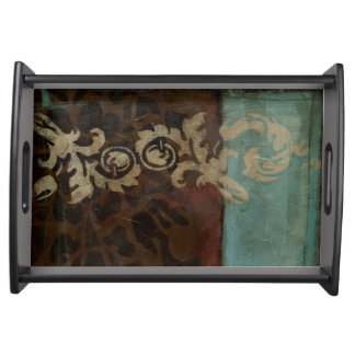 Abstract Damask Tapestry by Jennifer Goldberger Serving Tray