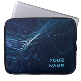 Abstract Dark Blue with Customizable Name Laptop Sleeve