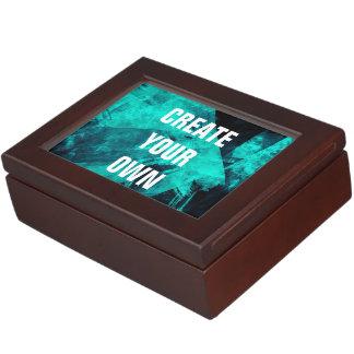 Abstract Dark Turquoise Paint Modern Elegant Keepsake Box