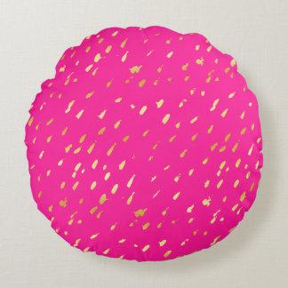 Abstract deep rose & gold foil splatter pillow