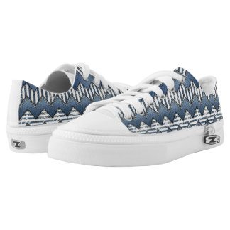 Abstract Denim Mixed Media Low-Top Sneakers