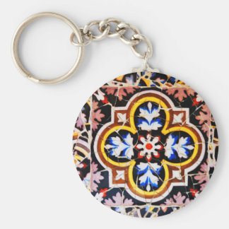 Abstract design basic round button keychain