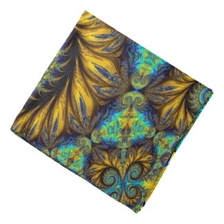 Abstract Design Feather Look Yellow And Blue Whirl Bandana