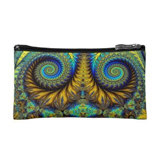 Abstract Design Feather Look Yellow And Blue Whirl Cosmetic Bag