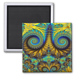 Abstract Design Feather Look Yellow And Blue Whirl Magnet