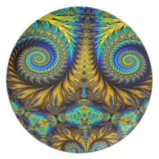 Abstract Design Feather Look Yellow And Blue Whirl Plate